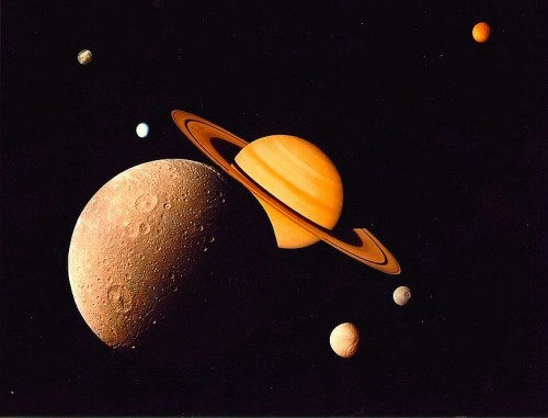Saturn family e1301116480754 Saturns Bizzarely Shaped UFO Moons Baffle Scientists